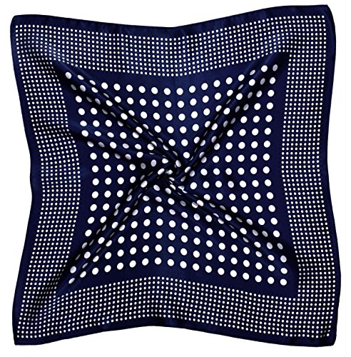 Dark Blue Spotted Small Thick Silk Square Scarf