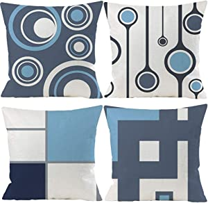 EZVING Set of 4 White Gray Blue Modern Abstract Geometric Throw Pillow Covers 20x20 Inches Decorative Cushion Pillow Cases Square Pillowcases for Bed Sofa