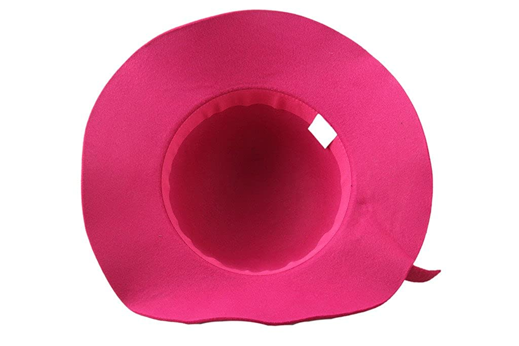 Dantiya Kids Girls Solid Color Bowler Wide Brim Wool Felt Hat Cap