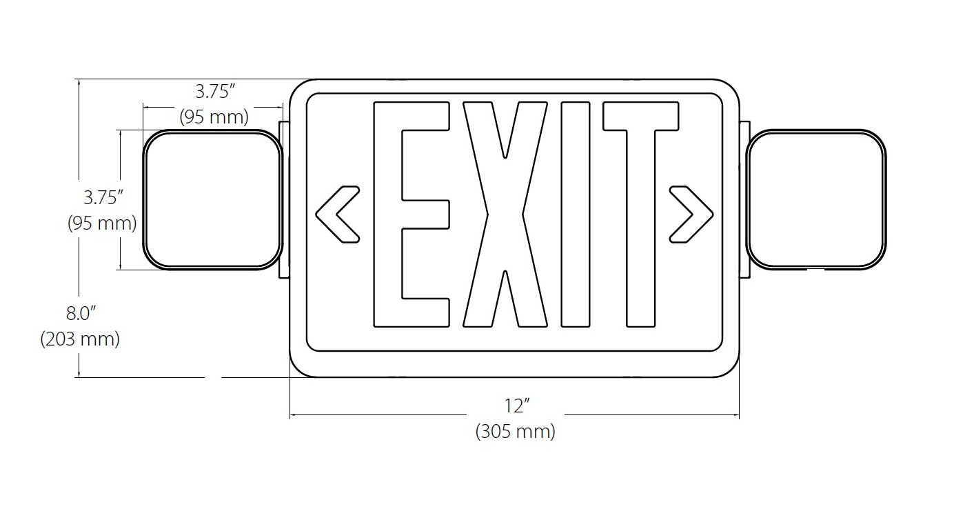 NICOR Lighting Remote Capable LED Emergency Exit Sign with Dual Adjustable LED Heads, White with Red Lettering (ECL1-10-UNV-WH-R2R) by NICOR Lighting (Image #5)