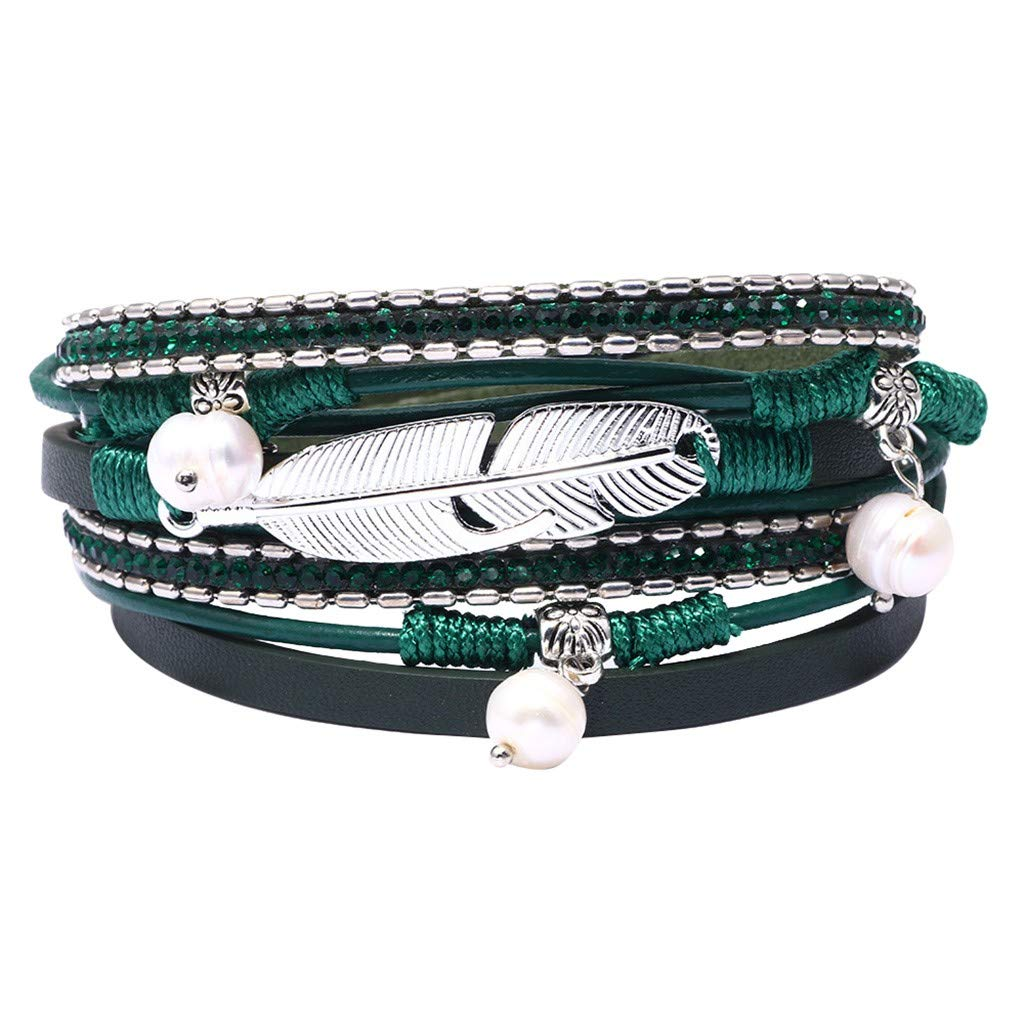 Buolo-Jewelry Multi Layer Leather Bracelets Double Wrap Leather Bracelet with Crystal Bead Boho Braided Leather Rope Alloy Magnetic Clasp Handmade Braided Wrap Cuff Bangle for Women Girl Gifts (E)