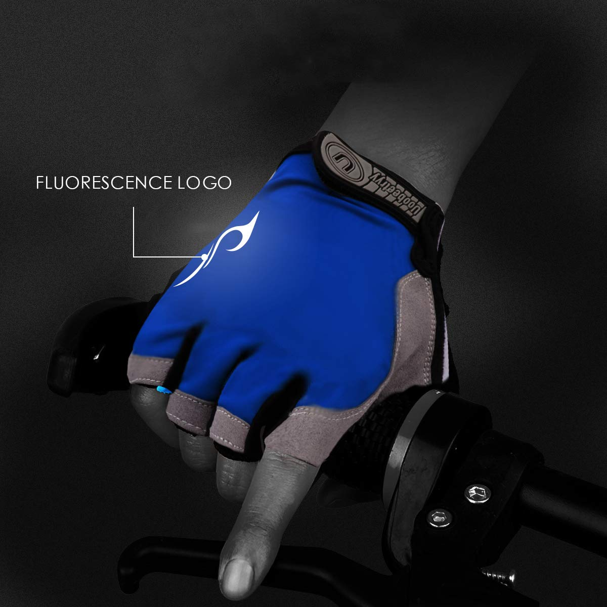Uoobeetryy Reflective Cycling Gloves Cooling Half Finger Mountain Bike Glove for Men Women Bicycling Breathable Gel Padded Anti Slip Shock-Absorbing MTB DH Road Bicycle Gloves