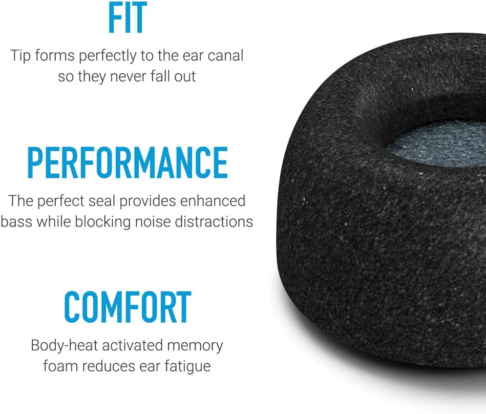 3 Pairs Secure Fit Tips Made from Secure Fitting and Comfortable Memory Foam Comply Truly Wireless Pro Foam Tips for Jabra Elite 65t /& Active 65t Medium with SweatGuard Black