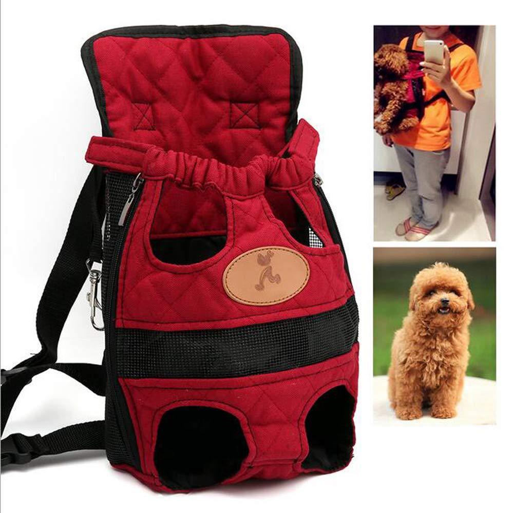 Pet Backpack Adjustable Safety Cat Dog Front Bag Light Head Leg Tail Hands-Free Travel Hiking Camping Hiking Portable   Breathable (S, Red)