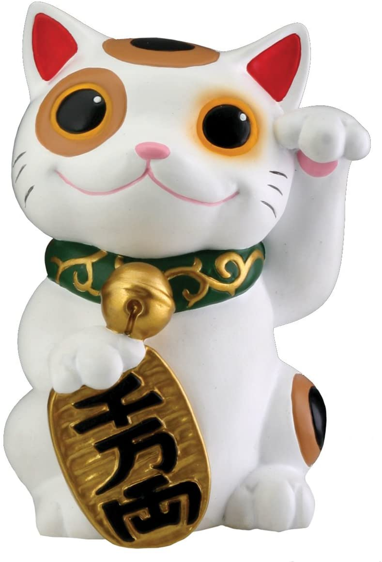 Black Japanese Maneki Neko Beckoning Money Good Fortune Waiving Lucky Cat