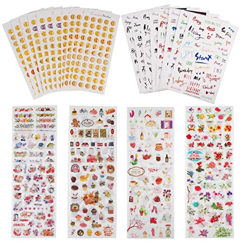 Pack Scrapbooking Stickers - Planner Stickers Value Pack (Assorted 1877 PCS, 44 Sheets) - Decorative Sticker Collection for Scrapbooking, Calendars, Arts, Kids DIY Crafts, Album, Bullet Journals by Knaid