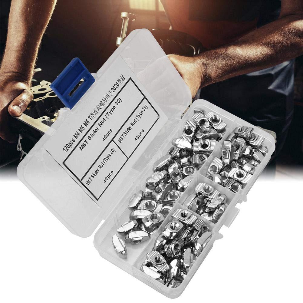 T Slot Sliding Nut,120pcs T Slot Sliding Nut M4 M5 M6 Hardware Fasteners for 3030 Aluminum Profiles