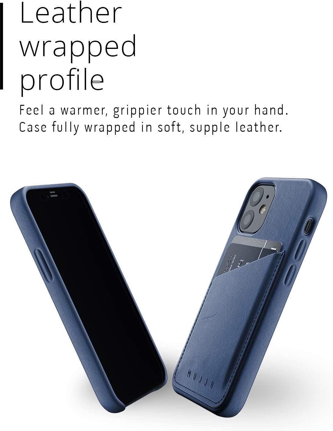 Mujjo Iphone 12 Mini Leder Hülle Blau Premium Wallet Case Fächer Für 2 3 Karten Extra Dünn Stoßfeste Schutzhülle Kabelloses Laden 5 4 Einzigartiger Natürlicher Alterungseffekt Elektronik