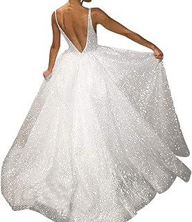 Women's Slim Wedding Dress,CSSD Ladies' Sleeveless V-Neck Long Dress Noble Luxurious Backless Sling Evening Dresses (S, Silver)