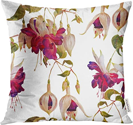 Golee Throw Pillow Cover Colorful Victorian Floral Pattern In Modern Style Fuchsia Flowers White Watercolor Painting Pink Tropical Decorative Pillow Case Home Decor Square 18x18 Inches Pillowcase Home Kitchen