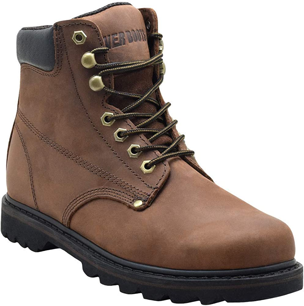 """  EVER BOOTS""""Tank"""" Men's Soft Toe Oil Full Grain Leather Work Boots Construction Rubber Sole   Industrial & Construction Boots"""