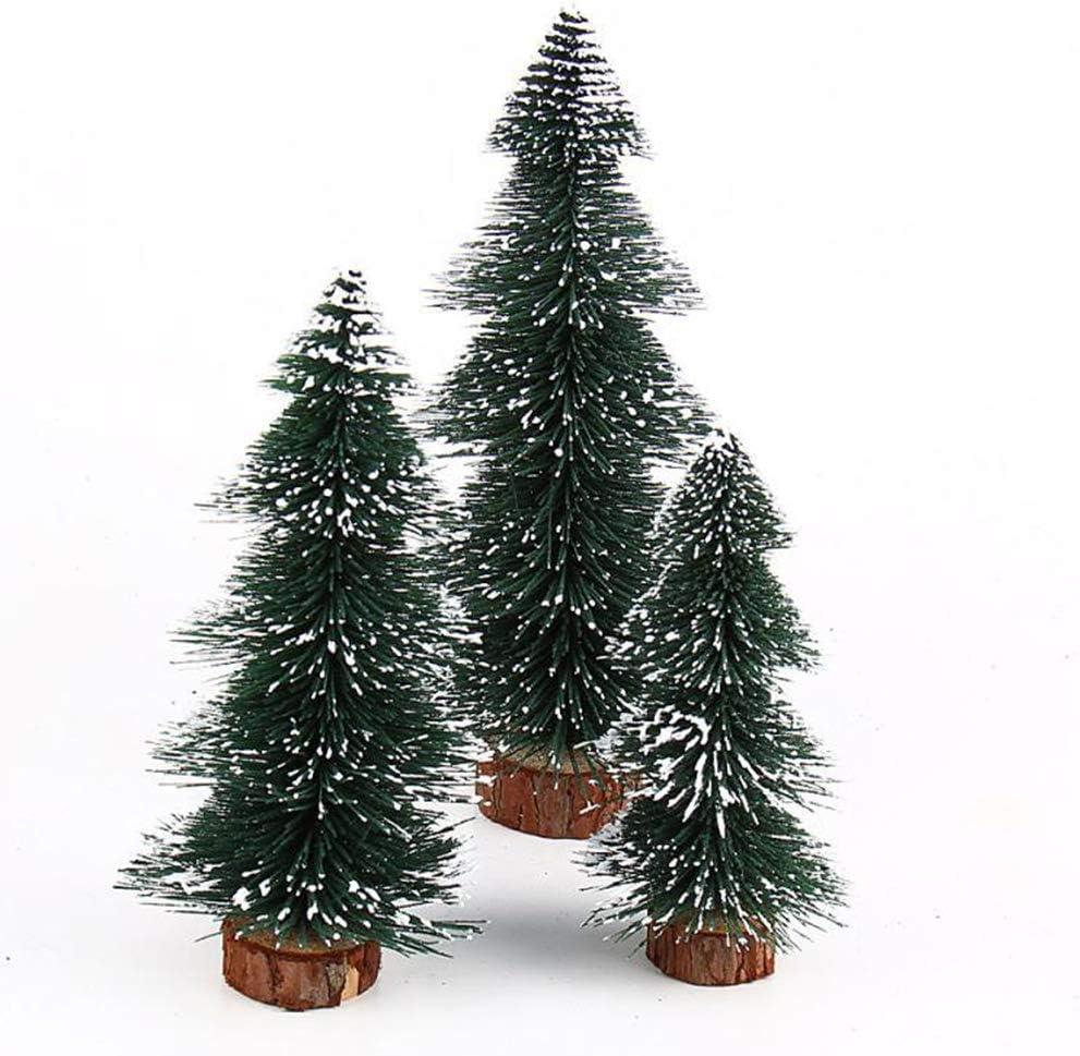 AIZYR Pack De 3 Arbolitos Navideños, Decoración Árbol De Navidad - Pequeñas Miniaturas Artificiales De Sisal Árboles De Nieve Helada, para Decoración De Mesa De Manualidades Navideñas