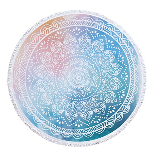 SOFTBATFY Thick Terry Round Beach Towels Watercolor Blue/Round Beach Blanket/Round Beach Mat Roundie Tapestry/Round Yoga Mat with Fringe Tassels(Watercolor ()