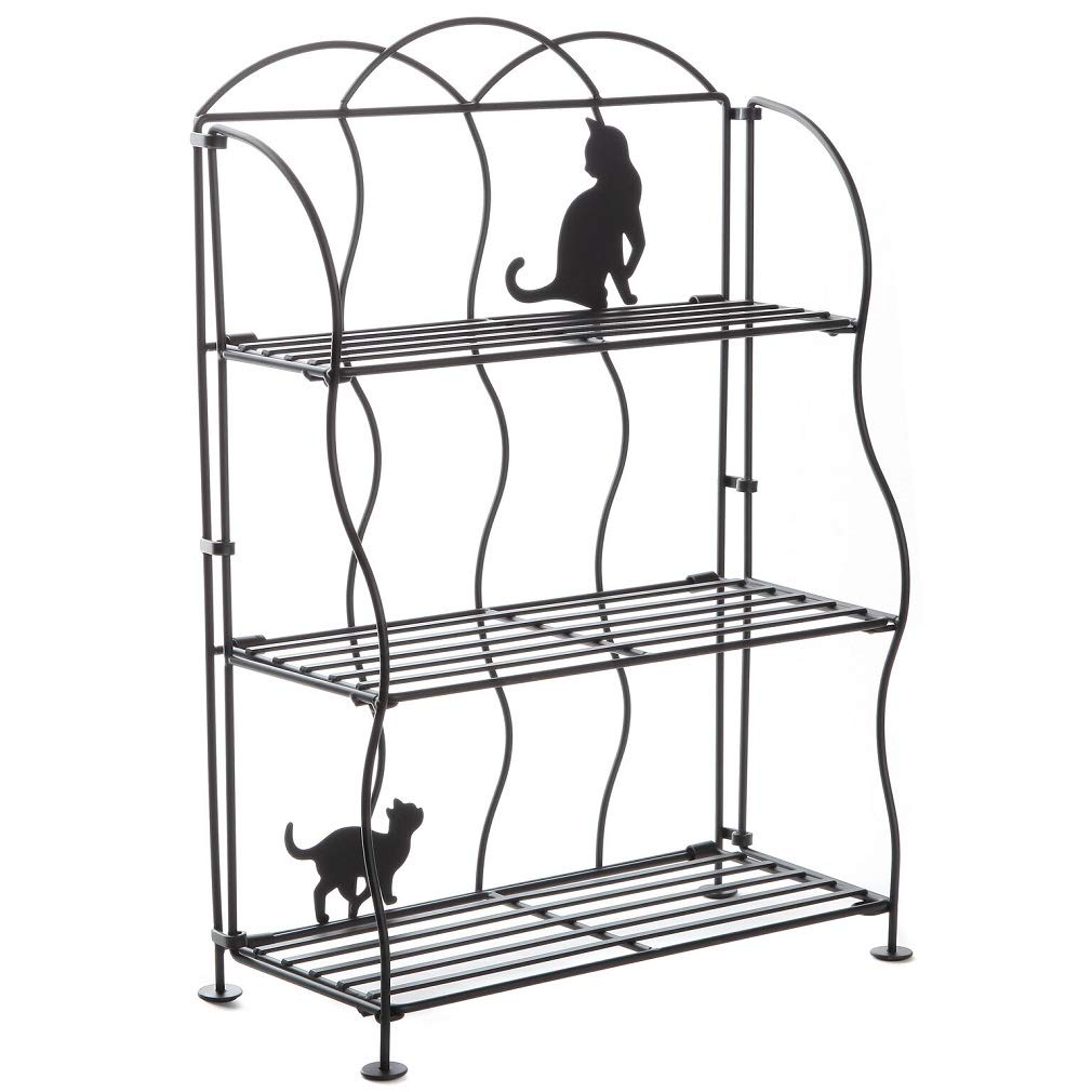 Lily's Home Cat Lovers Black Metal Countertop Wire Shelf Rack, Great for Household Items, Kitchen Organizer, Bathroom Storage and More. Foldable. 3-Tier