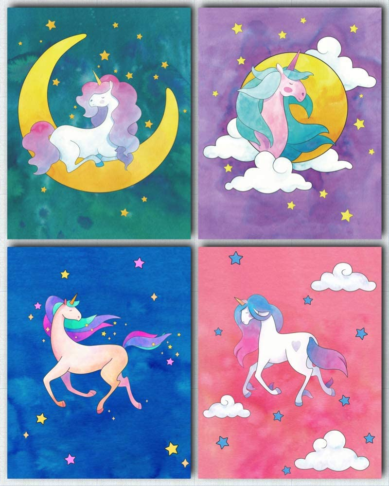 L & O Goods Unicorn Posters for Girls Bedroom   Unicorn Room Wall Décor   Set of 4 Watercolor Unicorn Decorations   Cute Kids Posters for Girls   Little Girl Bedroom Décor   8x10