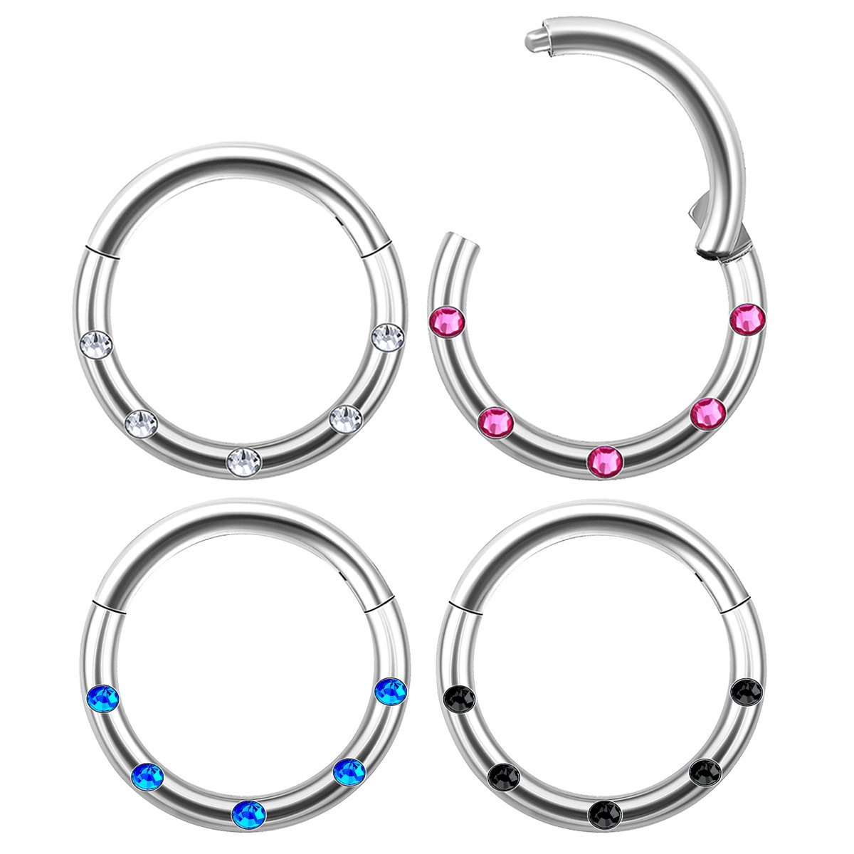 4Pcs Steel 16g 5//16 8mm septum clicker Piercing Jewelry Tragus Nose Cartilage Clear Rose Sapphire Black Jet Crystal M1119