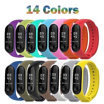 BRone 14 Piezas Pulsera para Xiaomi Mi Band 3,Coloridos Impermeable Reemplazo Correas Reloj Silicona Banda para XIAOMI Mi Band 3-14 Colores Compuesto: ...