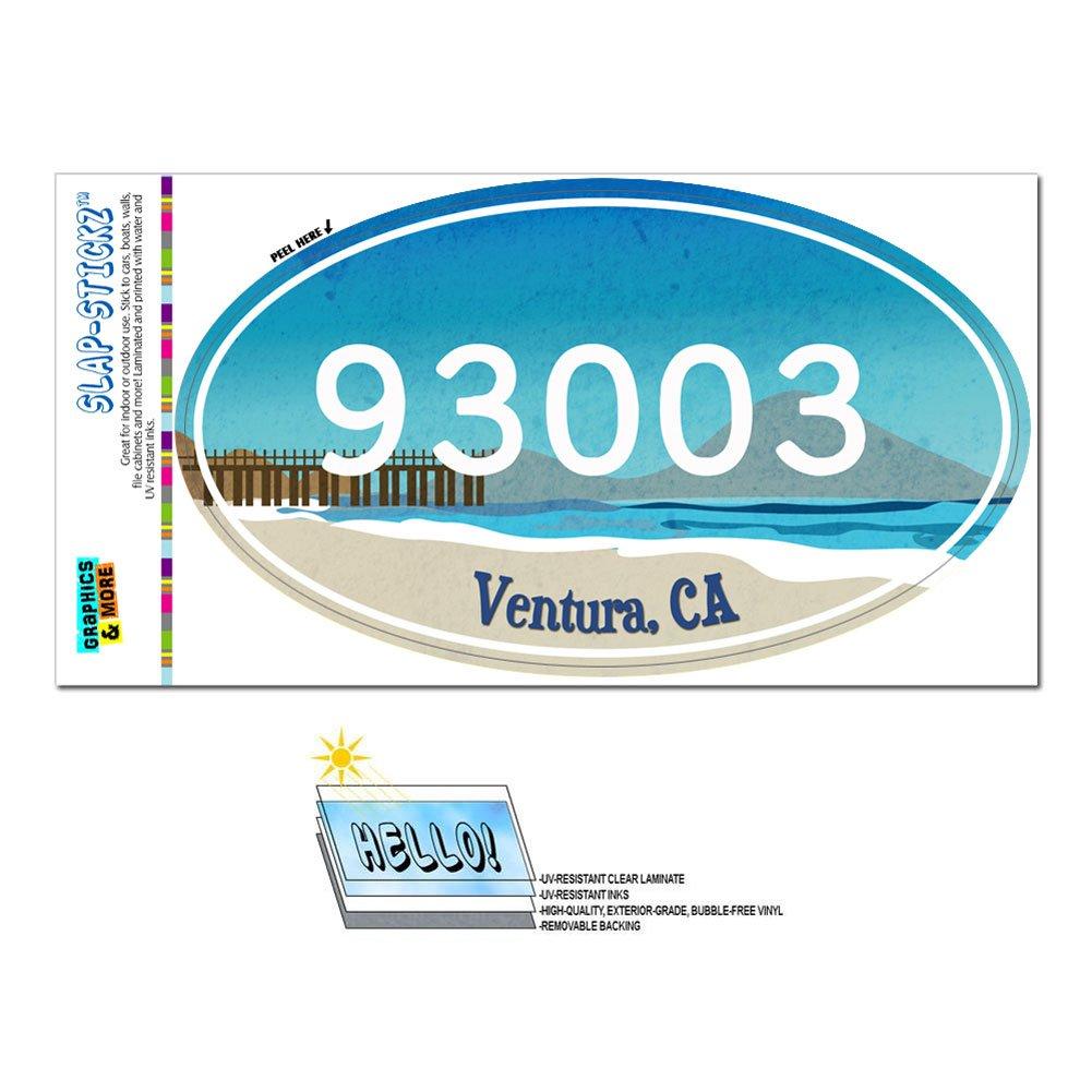 Amazon com graphics and more zip code 93003 ventura ca euro oval window bumper glossy laminated sticker beach pier automotive