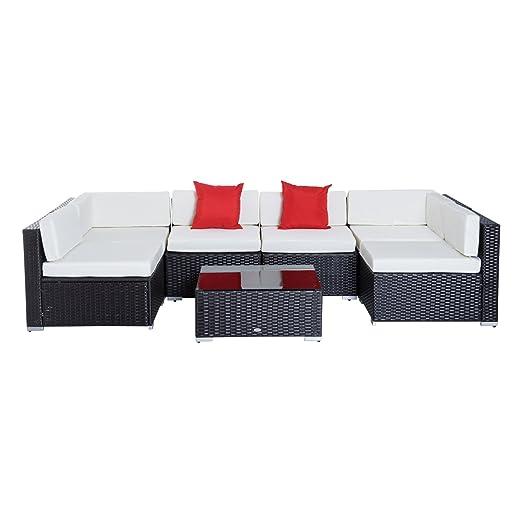 Prezzo Cuscini Poltrone E Sofa.Outsunny Set Mobili Da Giardino Rattan Poltrone Tavolino 7pz Con