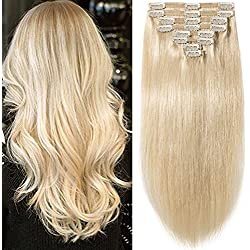 """s-noilite 10""""-22"""" Thick Double Weft 130-160g Grade 7A 100% Clip in Remy Human Hair Extensions Full Head 8 Piece (16""""-130g #60 Platinum Blonde)"""