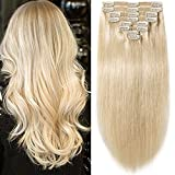 s-noilite 10''-22'' Thick Double Weft 130-160g Grade 7A 100% Clip in Remy Human Hair Extensions Full Head 8 Piece (20''-150g #60 Platinum Blonde)
