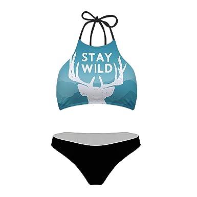 5e63871402 Amazon.com  Mumeson Women Tropical Leaf 3D Print Tie Halter Padding Bikini  2 Piece Swimsuit  Clothing