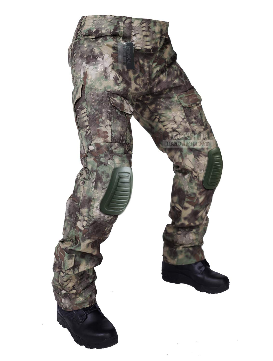ZAPT Tactical Pants with Knee Pads Airsoft Camping Hiking Hunting BDU Ripstop Combat Pants 13 Kinds Army Camo Uniform Military Trousers (Mandrake Camo, L36) by ZAPT