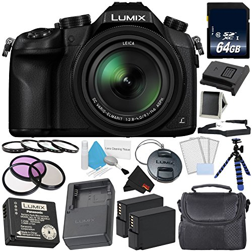 Panasonic Lumix DMC-FZ1000 Digital Camera 4K Point and Shoot Camera, 16X Leica DC Vario-Elmarit Zoom Lens Gold Level Bundle