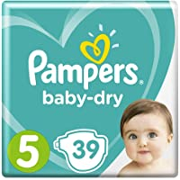 Pampers Baby-Dry Nappies, Size 5 Walker (11kg-16kg), 39 Nappies