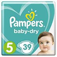 Pampers Baby-Dry Nappies, Size 5 Walker (11kg-16kg), 39 Nappies, Up to 12 hours of overnight dryness