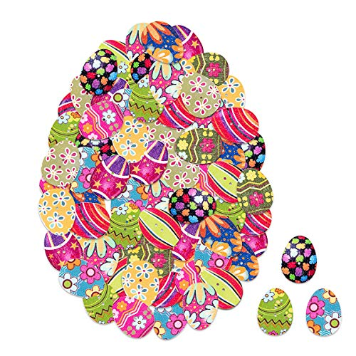 Biubee 100 pcs Wooden Easter Eggs Buttons Eater Bunny Buttons Mixed Cloor with 2 Holes for DIY, Sewing, Scrapbooking, Party Decoration ()