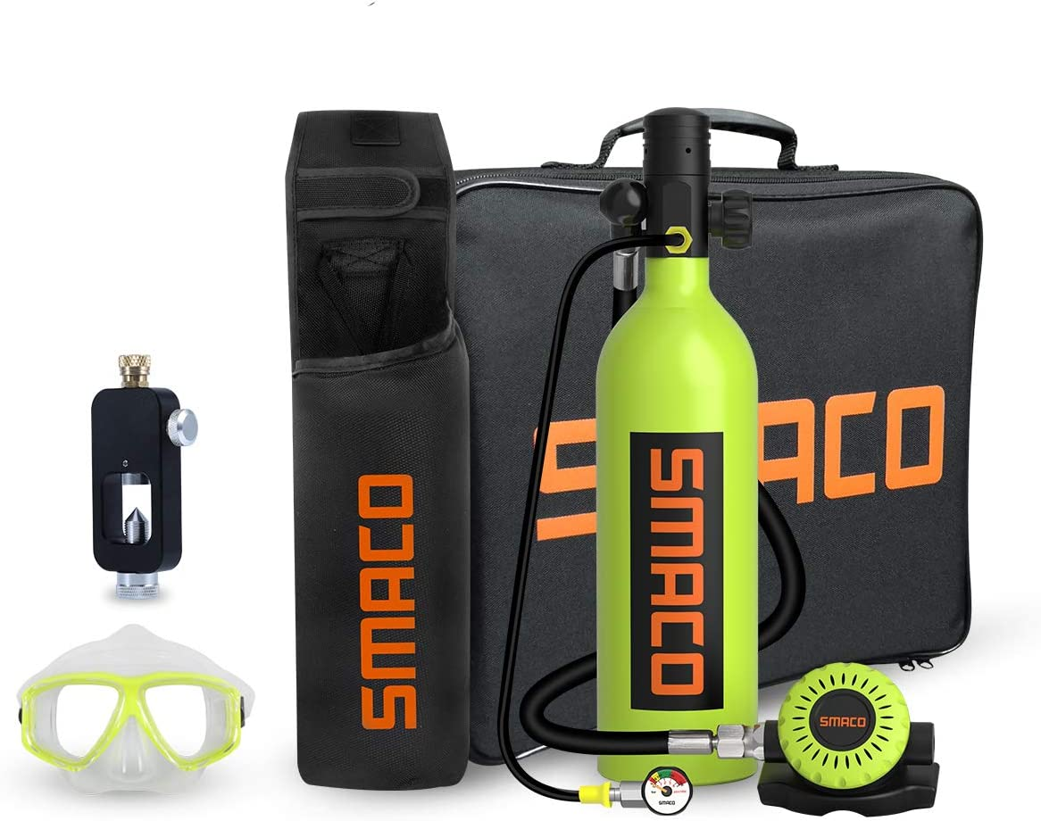 SMACO Scuba Tank Diving Gear for Diver Mini Scuba Tank Oxygen Cylinder with 15-20 Minutes Capability Diving Oxygen Underwater Breathing Device 1L Diving /& Snorkeling Equipment