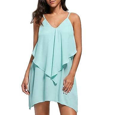 5beb5137cd32 Pingtr Sommerkleider Frauen Minikleid V Ausschnitt Kleid Damen Träger  Rückenfreies Kleider Rüschen Kurzes Kleid Strandkleider Weiß