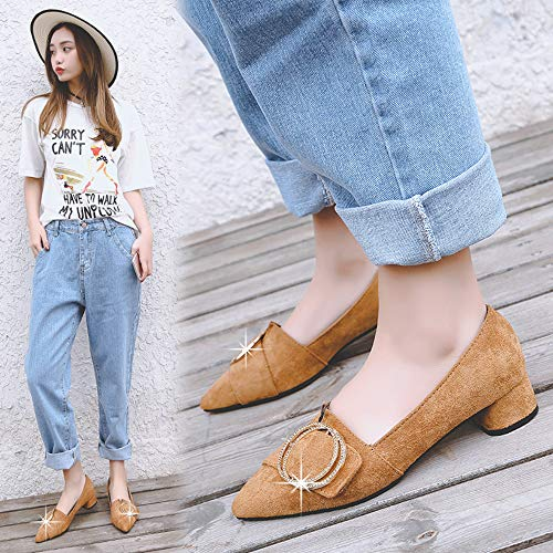 With Toe Shoes Jqdyl Work Shoes Women'S High Heels Shoes Thick With Casual Fashion New Pointed zzq10wca