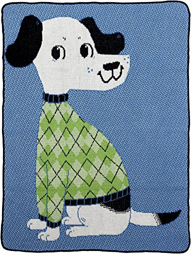 Green 3 Sweater Dog Jr. Throw Natural Cotton, Kiwi/Blue/Black