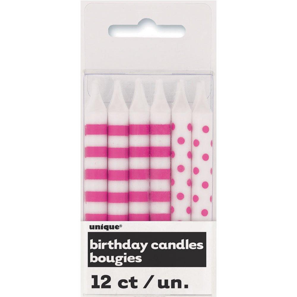 Hot Pink Polka Dot & Striped Birthday Candles, 12ct