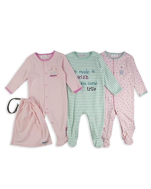 The Essential One - Deseo Pijama Pijamas para bebé niñas - Paquete de 3 - Rosada