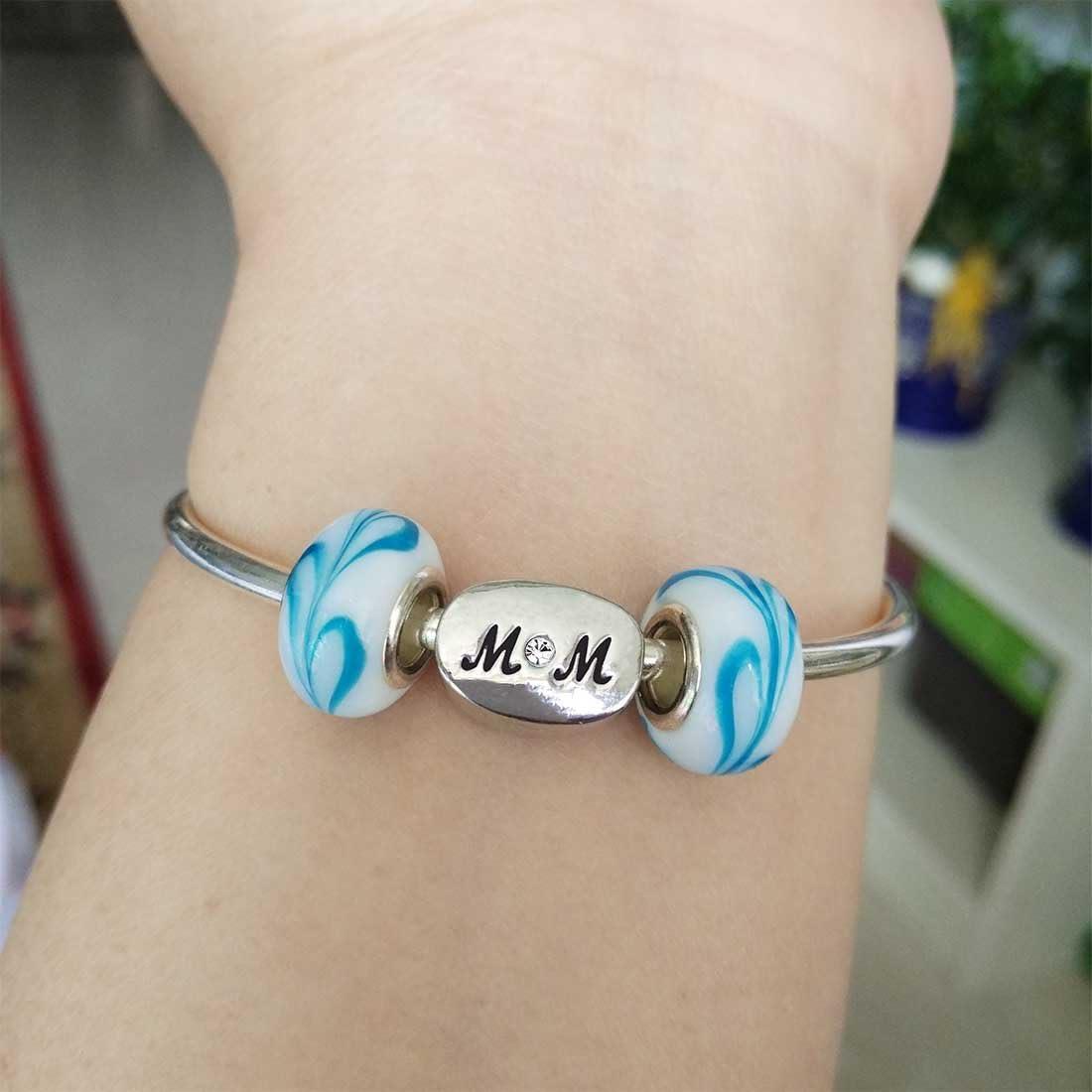 MOM Bead Charm Bracelets April Birthstone GiftJewelryShop Silver Plated Birthday Cat Photo White Crystal