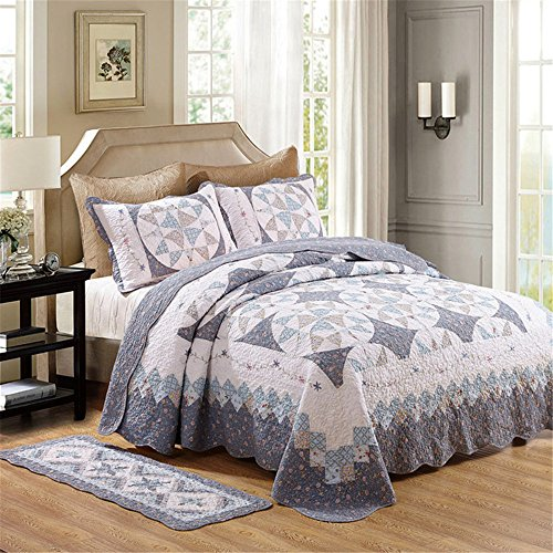 Newrara Fine Cotton Washable American Country Style Wreath Patchwork Quilt Bedspread Bed Coverlets Cover Set Queen Size (3pcs, Light Blue)