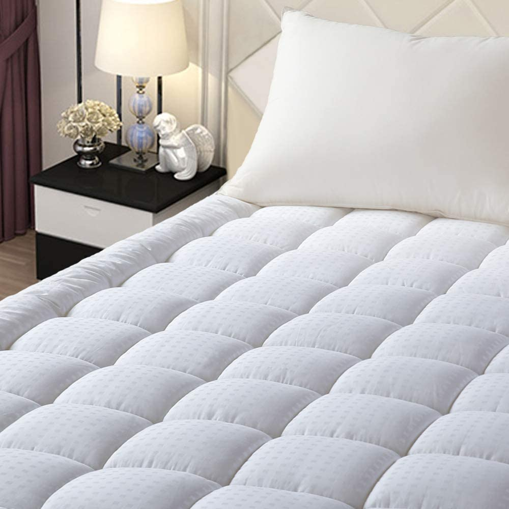"EASELAND Queen Size Mattress Pad Pillow Top Mattress Cover Quilted Fitted Mattress Protector Stretches up 8-21"" Deep Pocket Cooling Mattress Topper"