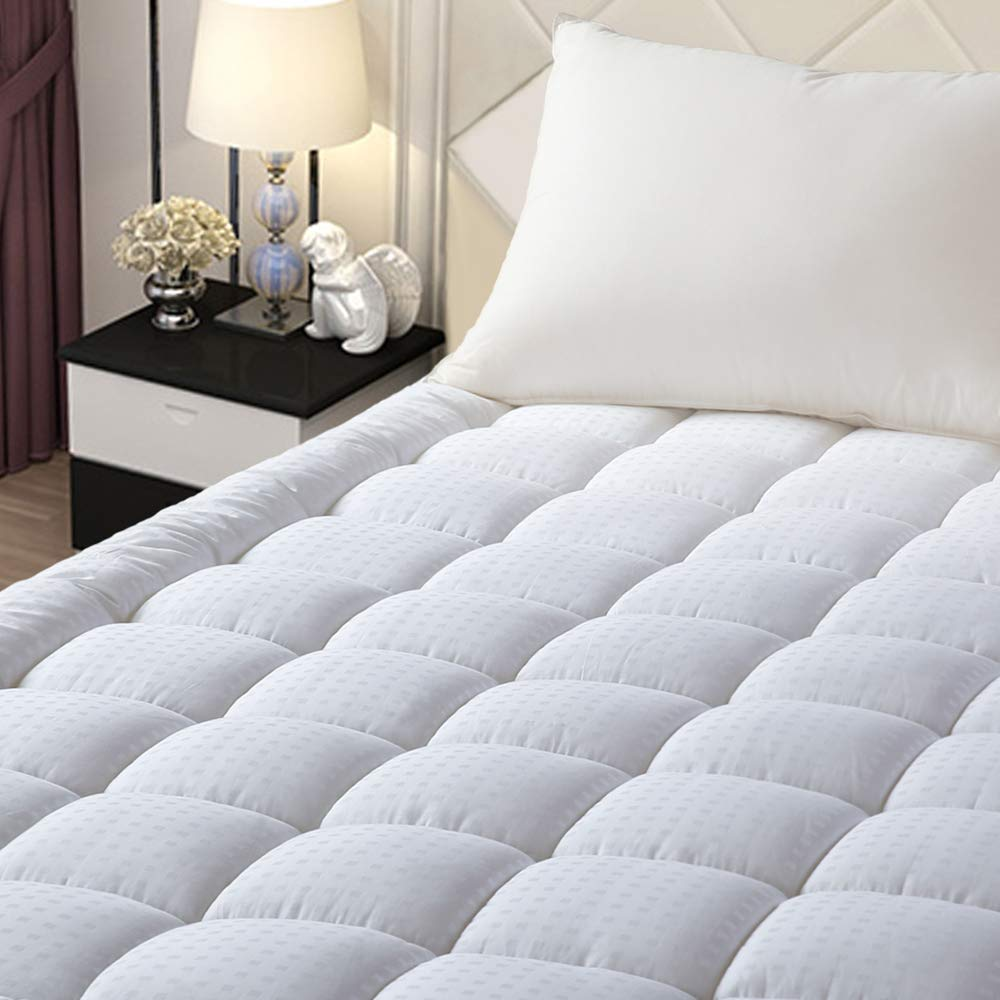 "EASELAND Full Size Mattress Pad Pillow Top Mattress Cover Quilted Fitted Mattress Protector Stretches up 8-21"" Deep Pocket Cooling Mattress Topper"