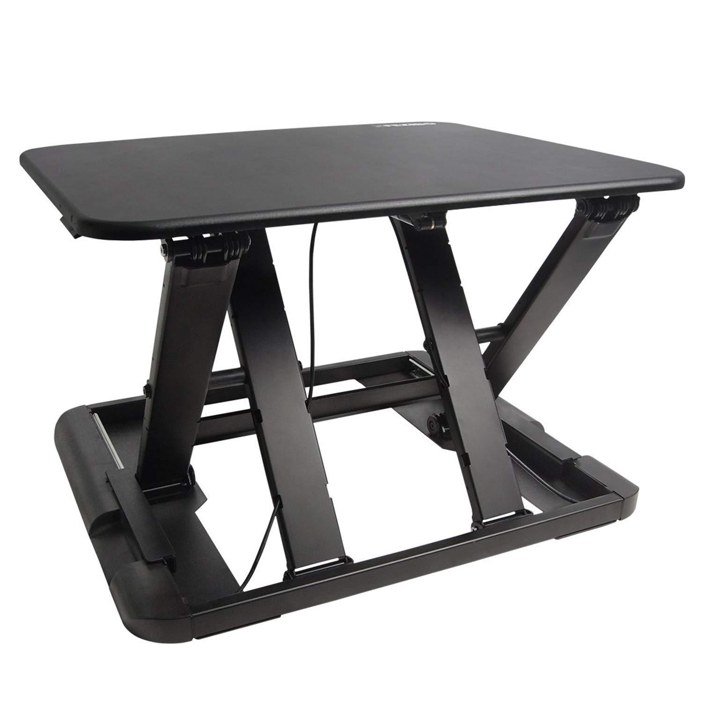 Standing Desk with Height Adjustable - FEZIBO Stand Up Black Desk Converter, 27'' Black Ergonomic Desktop Workstation Riser