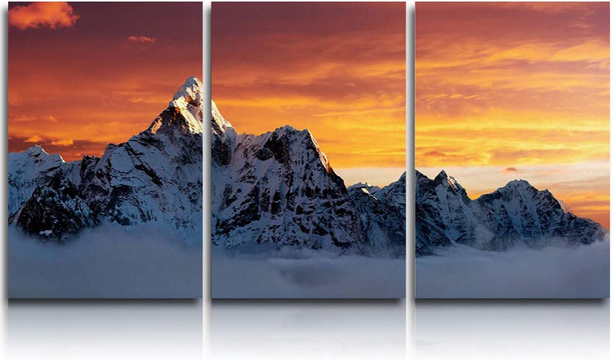 Amazon Com 3 Piece Canvas Wall Art Sunset On The Summit Of Mount Everest Modern Wall Decor Gallery Canvas Wraps Giclee Print Stretched And Framed Ready To Hang 12 X16 X3 Panels