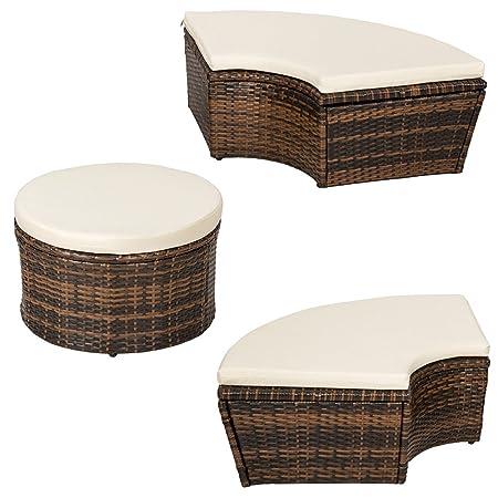 TecTake Conjunto de sillones con un techo isla para tomar el sol de ALUMINIO y ratán sintético - disponible en diferentes colores - (Marrón   No. ...