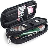 Mlmsy borsa trucco da donna con specchio beauty pennello trucco, kit da viaggio borsa organizer per cosmetici professionale multifunzionale organizer a 2strati (nero)