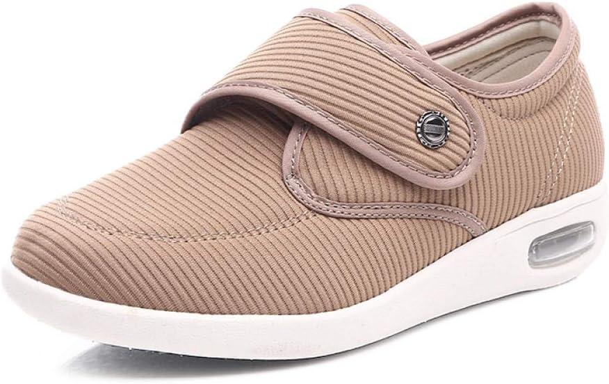 B/H Ajustable De Velcro Zapatillas OrtopéDica,Zapatos para pies hinchados de otoño, Zapatos para diabéticos con velcro-38_Yellow,Unisex Punta Abierta Ancho Ajustable