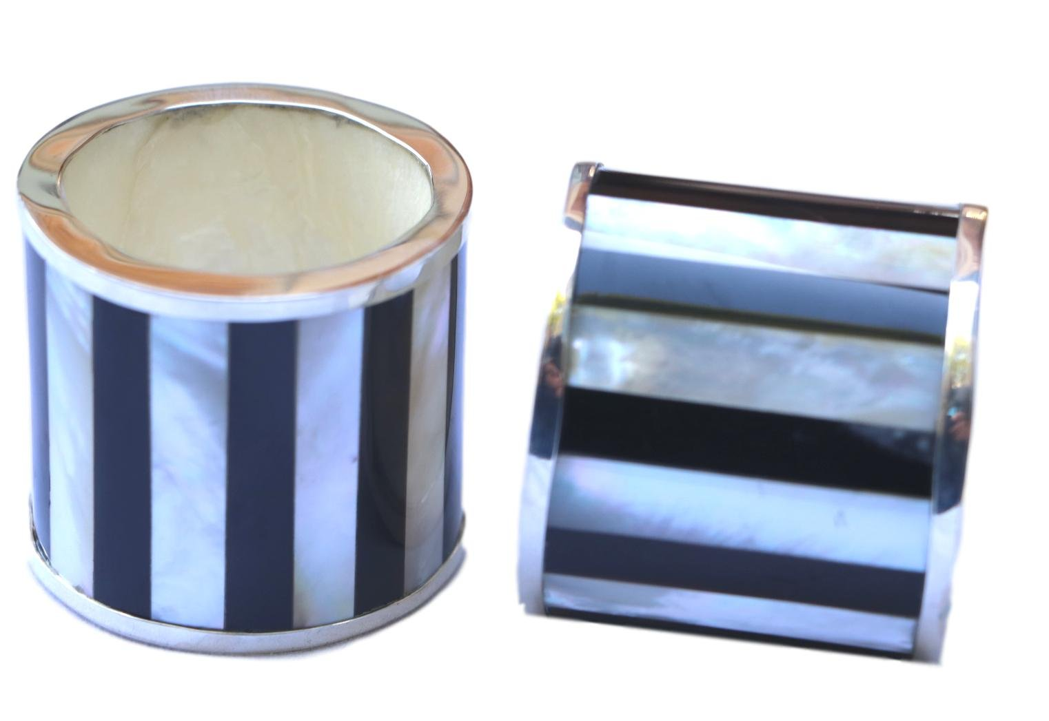Bali Thai Imports Sterling Silver and Shell Napkin Rings (set of 2) (Mother of Pearl Stripe)
