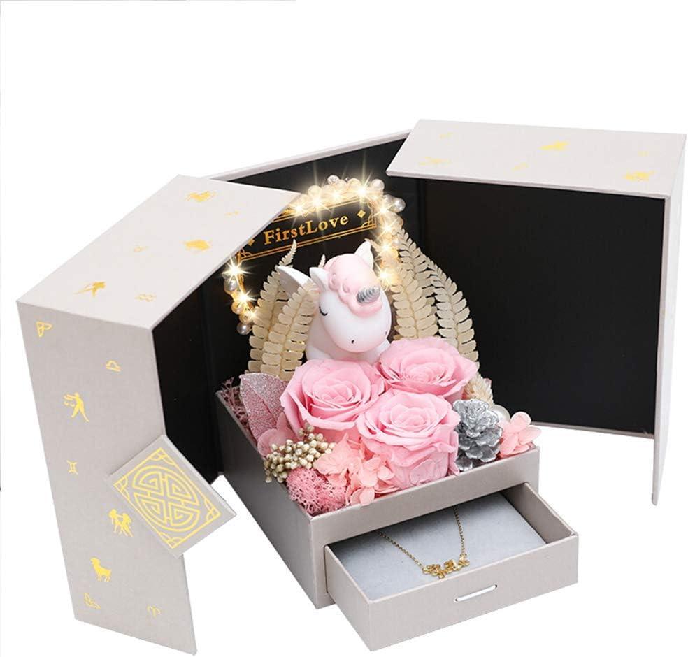 WZLJW Regalo del día de San Valentín Collar Rosado de la Flor eterna Rose Unicorn Decoración de Mujeres por la Familia del Regalo del Aniversario ggsm