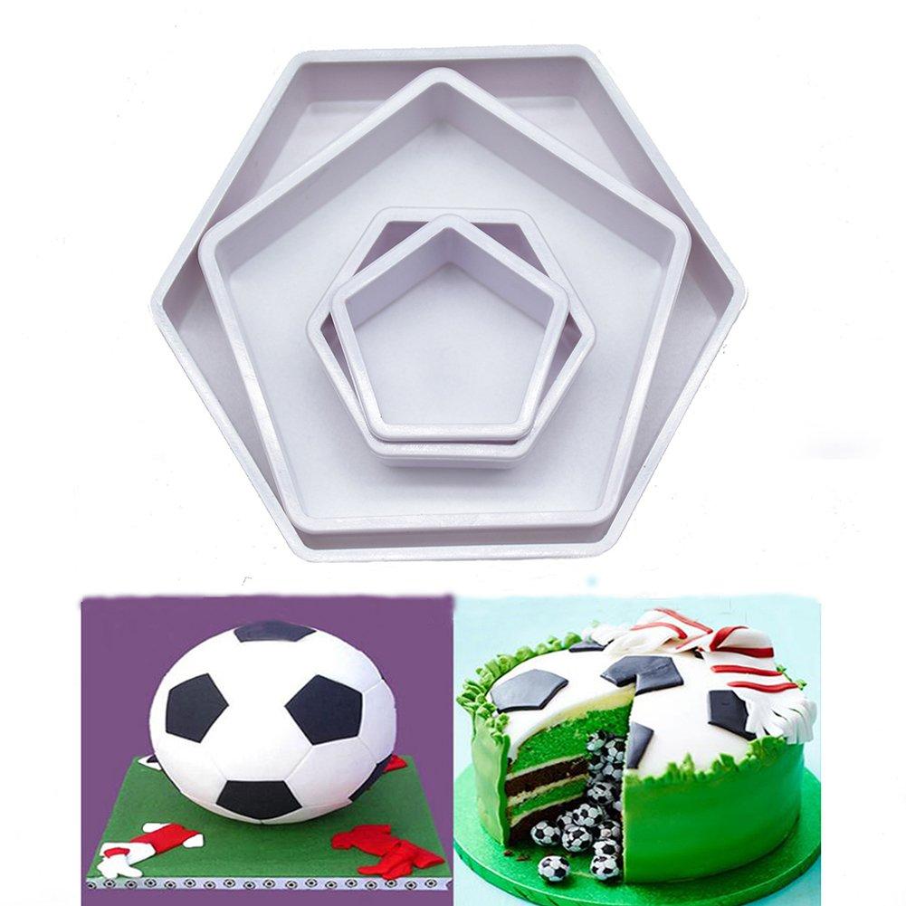 Yiwa Molde de plástico para tartas de futbolín, 4 piezas, molde ...