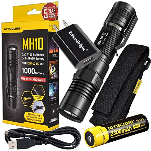 Nitecore MH10 CREE XM-L2 U2 LED 1000 Lumen USB Rechargeable Flashlight, 18650 rechargeable Li-ion battery, USB charging cable and Holster with EdisonBright USB power adapter - Flashlight Adaptor